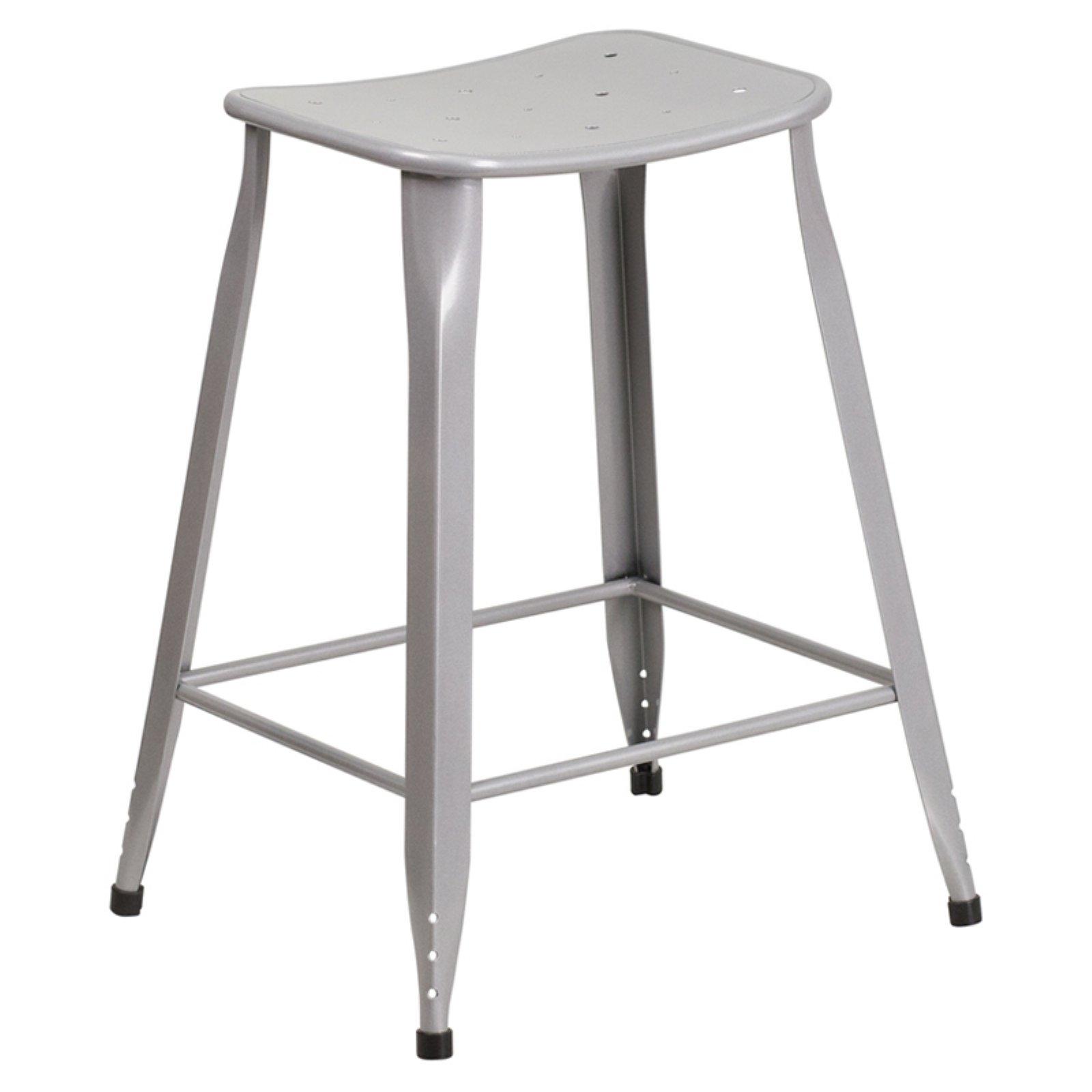 Flash Furniture 24 in. High Metal Indoor/Outdoor Counter Stool