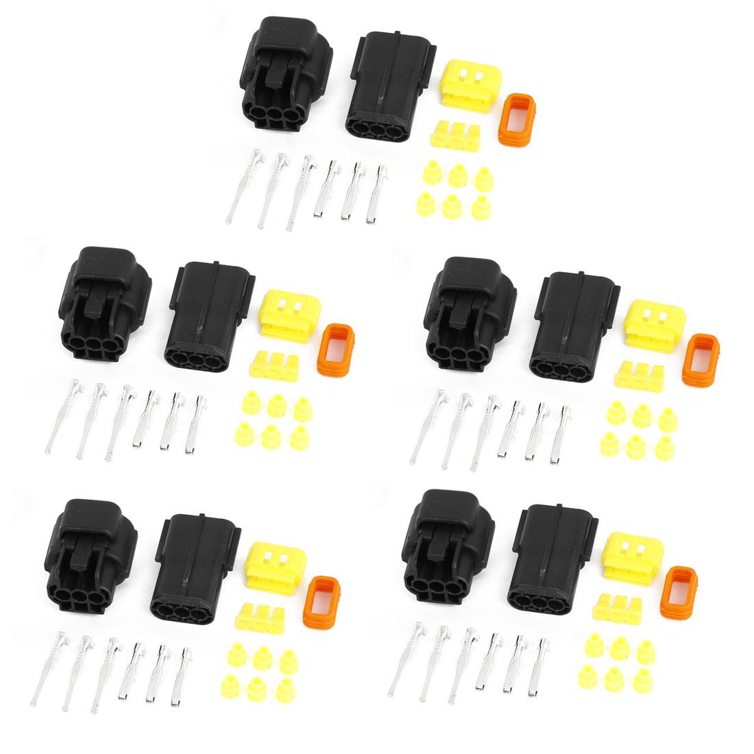 Unique Bargains 5 x Set 3 Pin Waterproof Connector 3 Way Connector Car Scooter ATV UTV RV