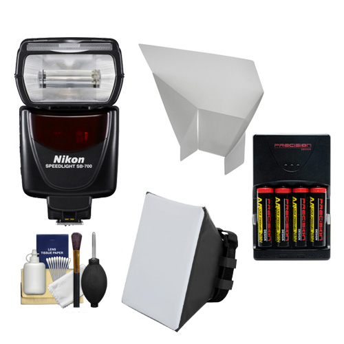 Nikon SB-700 Speedlight Flash + Softbox + Reflector + Batteries/Charger Kit for D3300, D3400, D5500, D7100, D7200, D500, D610, D750, D810 Cameras
