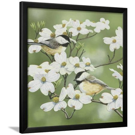 - Springtime and Chickadees Framed Print Wall Art By William Vanderdasson