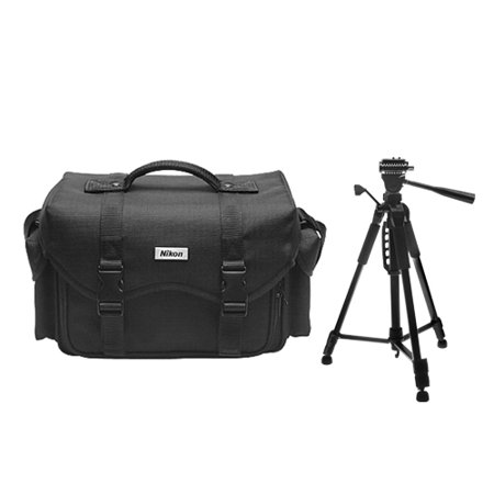 Nikon Digital SLR Camera System Case Gadget Bag + Deluxe Tripod for D3300, D3400, D5500, D5600, D7200, D7500, D610, D750, D810, D850, D5 (Camera Bag Nikon 3100)