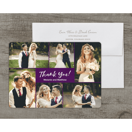 Personalized Wedding Thank You Card - Classic Love & Thanks - 5 x 7 Flat Deluxe