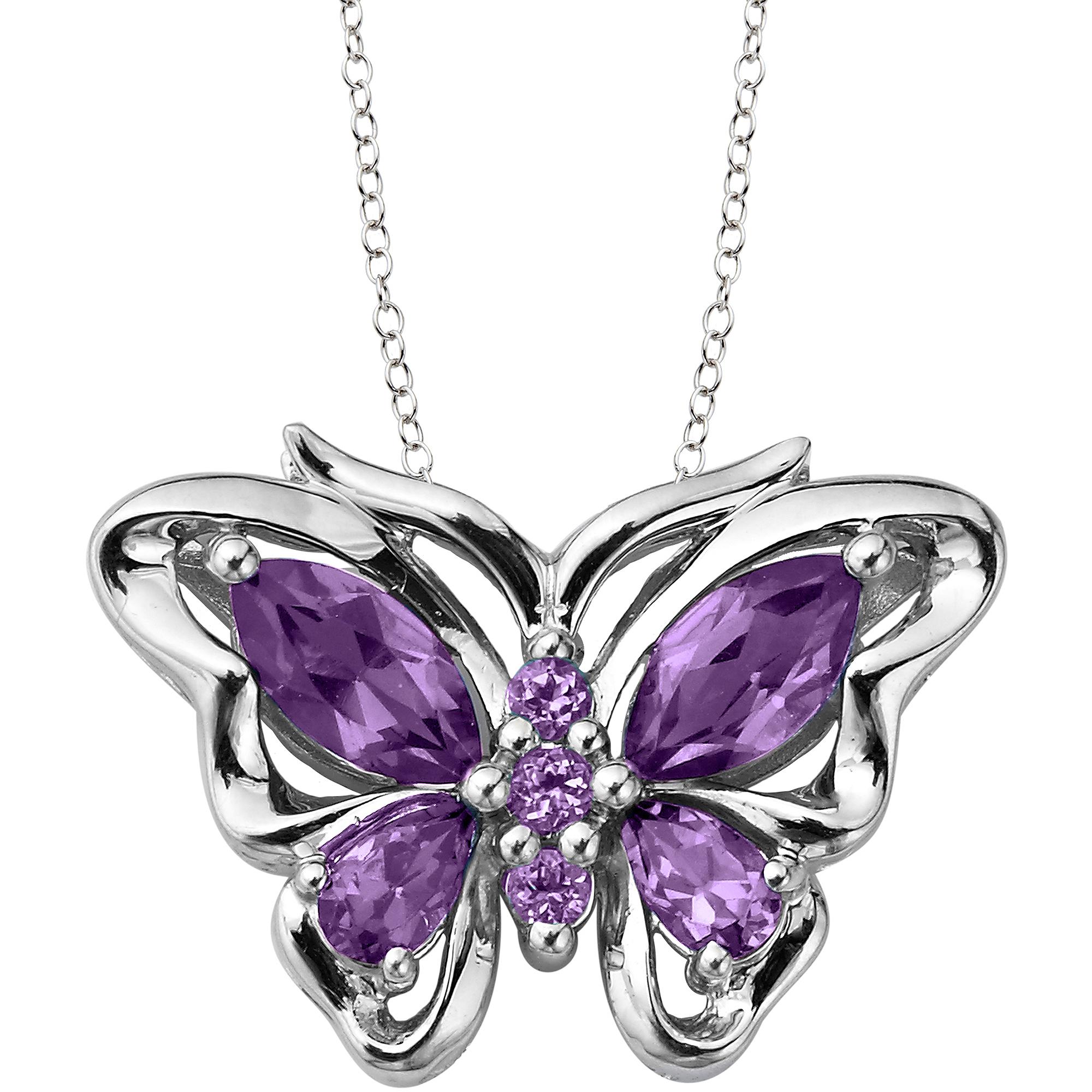 "Amethyst Sterling Silver Butterfly Pendant, 18"""