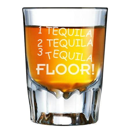 Tequila Shot Glasses (1 Tequila 2 Tequila 3 Tequila Floor Engraved Barcraft Fluted Shot)