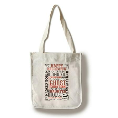 Illiopolis, IL - Happy Halloween - Typography with Bats - Lantern Press Artwork (100% Cotton Tote Bag - Reusable)