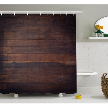Chocolate Shower Curtain, Aged Weathered Dark Timber Oak Wooden Planks  Floor Image Country Life Carpentry, Fabric Bathroom Set with Hooks, Dark  Brown,