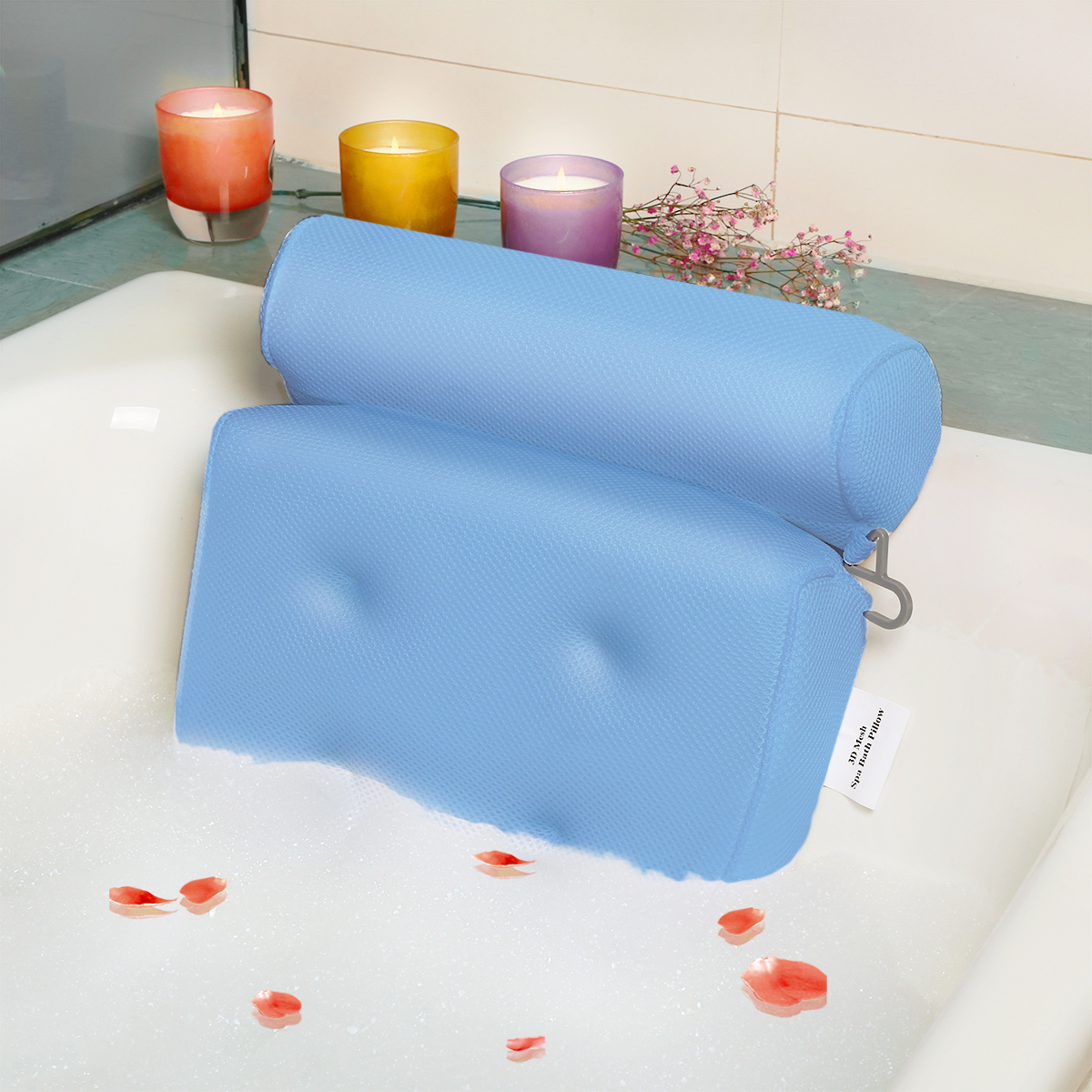 Breathable 3D Mesh Spa Bath Pillow with 4 Suction Cups, Neck & Back Support Home Hot Tub... by Besmall