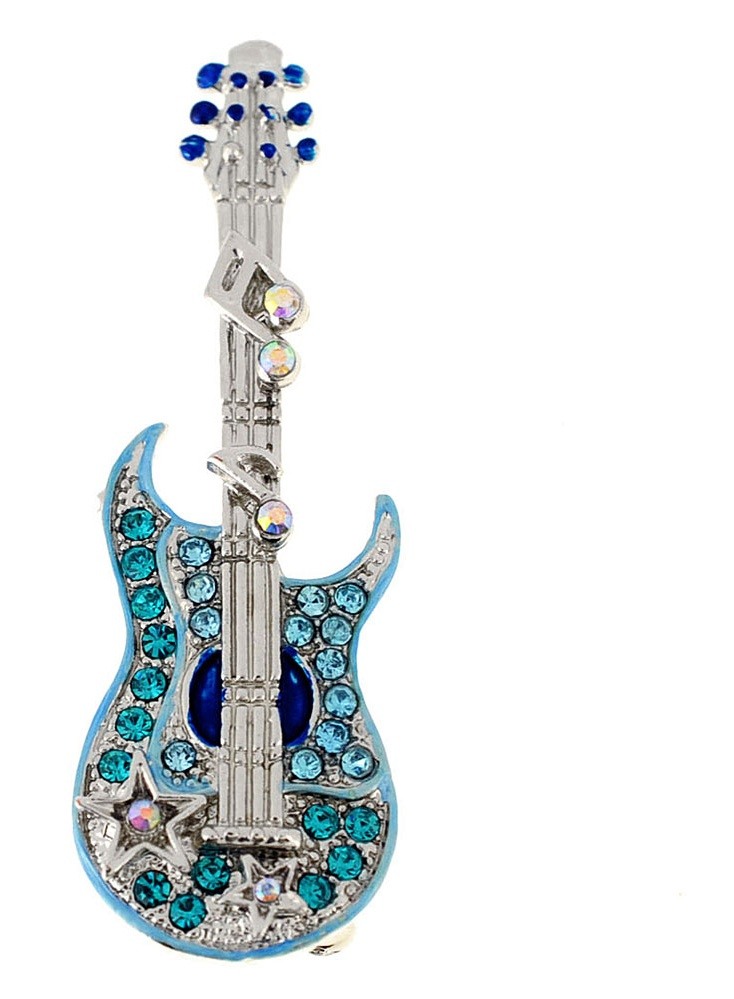 Light Blue Guitar Music Note Crystal Pin Brooch by