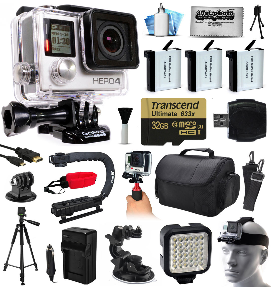 GoPro Hero 4 HERO4 Black Edition 4K Action Camera Camcorder with 32GB MicroSD, 3x Battery, Charger, Large Case, Handle, Tripod, Car Suction Cup Mount, LED Video Light, Head Helmet Strap GOPRO4BCAM32GBK8V3