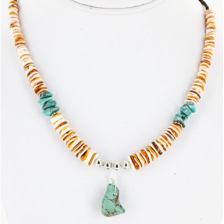 Certified Authentic Navajo .925 Sterling Silver Turquoise Turquoise Spiny Oyster and Graduated Heishi Native American