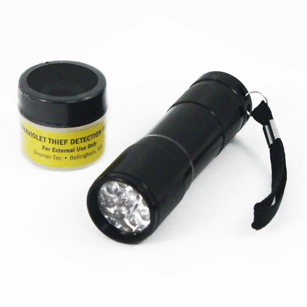 Ultraviolet Reactive Invisible Theft Detection Powder and Portable UV Flashlight