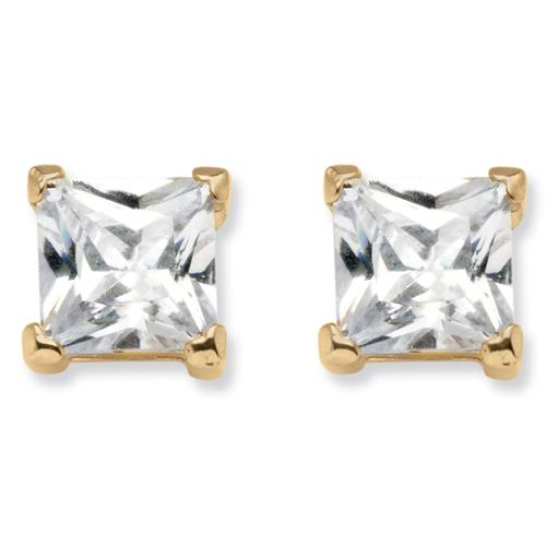 PalmBeach 4.24 TCW Princess-Cut Cubic Zirconia Stud Earrings in 18k Gold over Sterling Silver Classic CZ