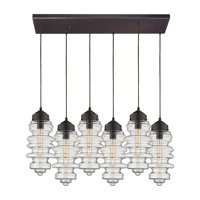Cipher 6-Light Rectangular Pendant Fixture in Oil Rubbed Bronze with Clear Glass