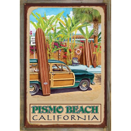 Pismo Beach California Beach Access Rustic Metal Print on Reclaimed B