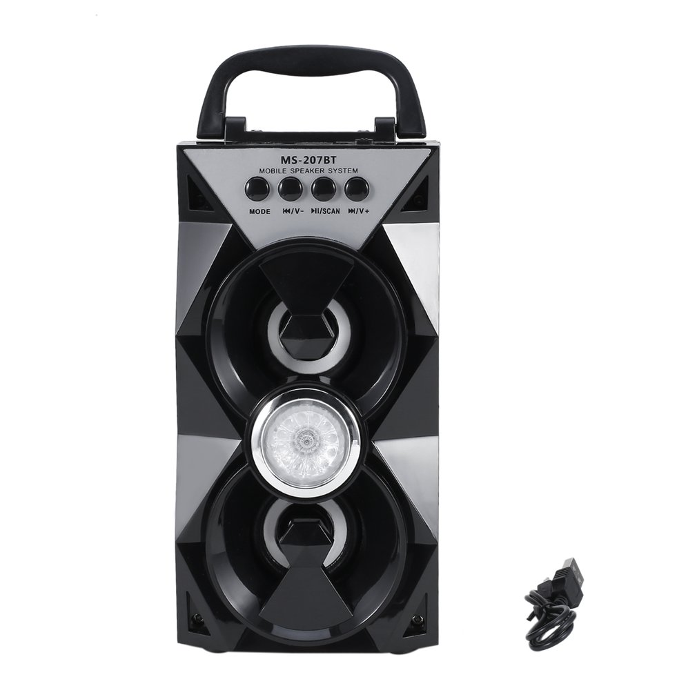 MS-207BT Handheld Bluetooth Dual Speaker Portable Indoor Outdoor Wireless Mobile Speakers With USB/TF/AUX/FM Radio