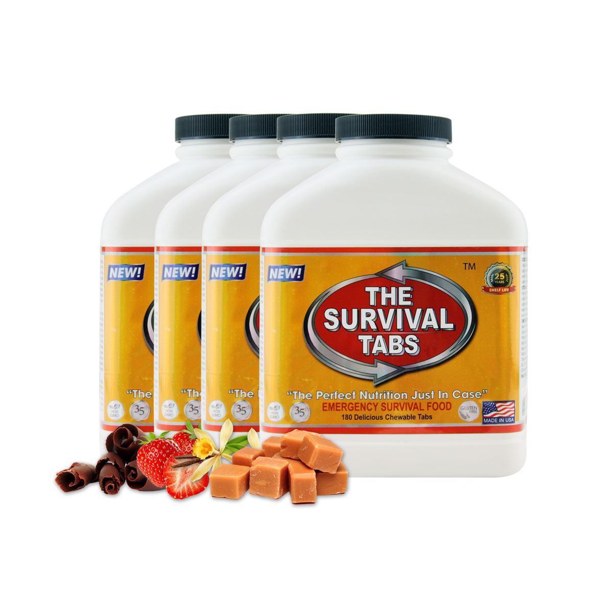 Survival Tabs 60 Day 720 Tabs Emergency Food Survival MREs Meal Replacement for Disaster Preparedness Gluten Free and Non-GMO 25 Years Shelf Life Long Term - Mixed Flavor