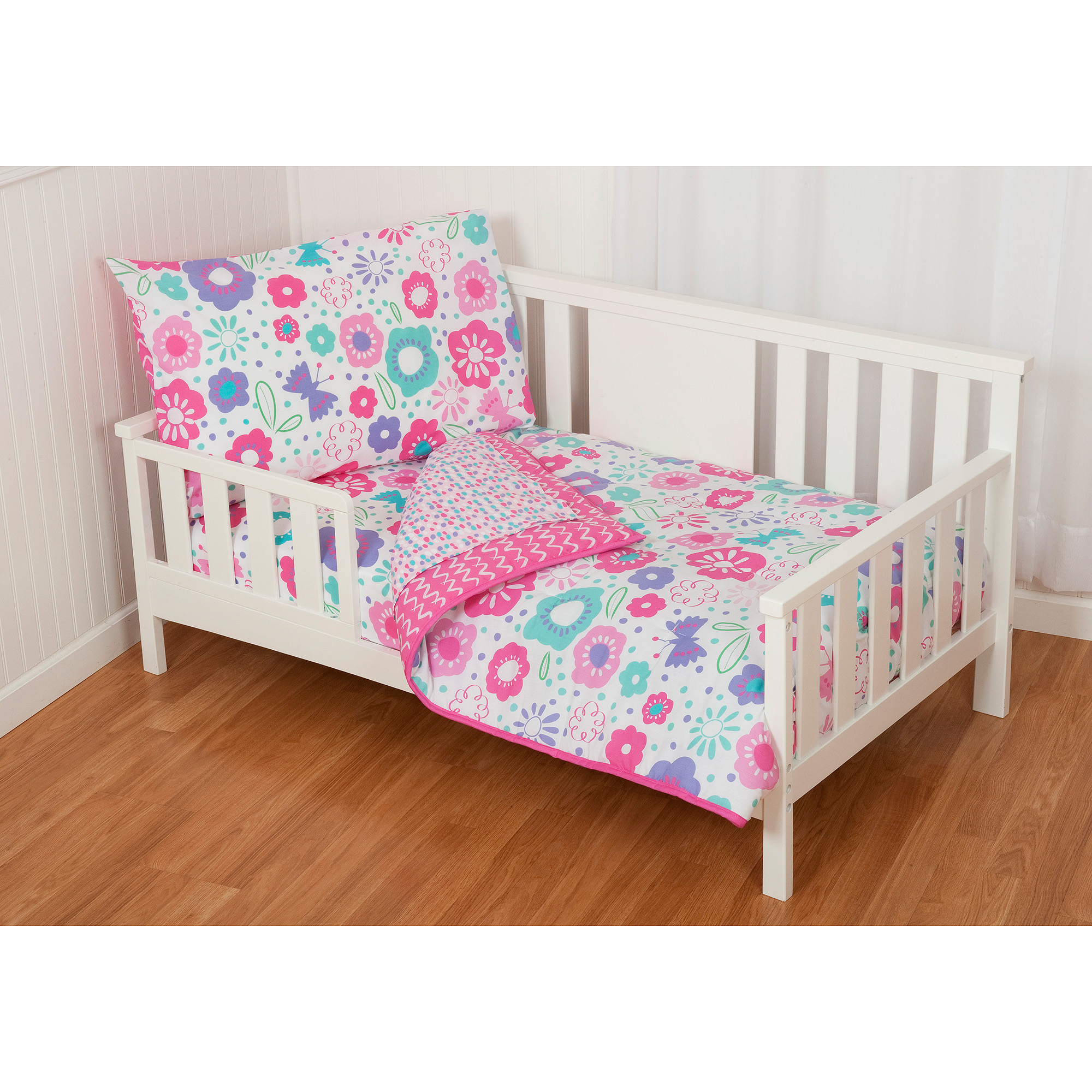Sumersault GiGi Floral 4-Piece Toddler Bedding Set