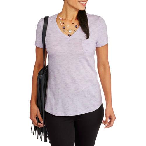 Faded Glory Women's Essential Short Sleeve V-Neck Pocket T-Shirt