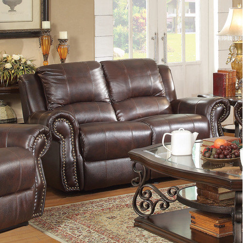 Wildon Home  Leather Motion Reclining Loveseat