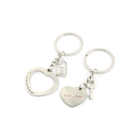 Heart Design Pendant Silver Tone Keychains Key Rings Pair for - Lovers Key Rings