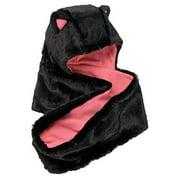 Girls Faux Bunny Fur Hood Loop Scarf Black Combo One Size