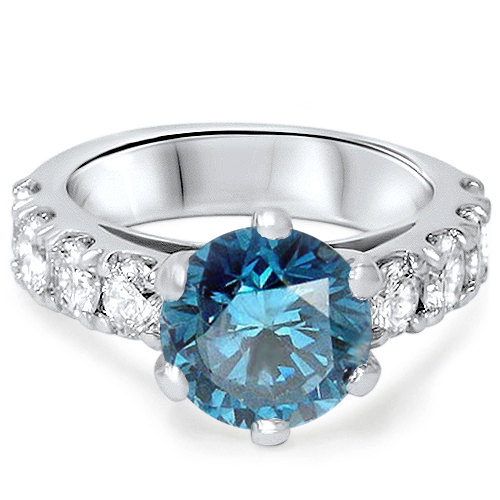 3 1 2ct Treated Blue Diamond Engagement Ring 14K White Gold Round Cut Solitaire by Pompeii3