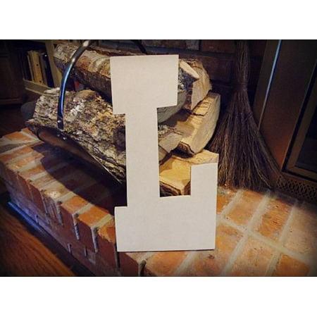 Unfinished Wooden Alphabet Letter, 12'' Rustler L,  Paintable (Lalphabet Letter)