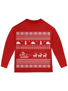 Santa Sleigh Ugly Christmas Sweater Red Toddler Long Sleeve T-Shirt - 4T