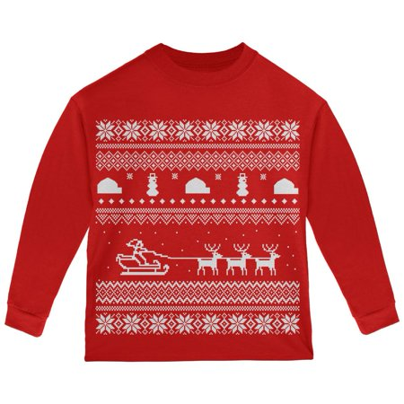 Santa Sleigh Ugly Christmas Sweater Red Toddler Long Sleeve T-Shirt - Girls Ugly Sweater