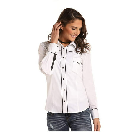 Panhandle Whit Label Ladies Long Sleeve Shirt White with Black Satin Piping (Satin Long Sleeve)