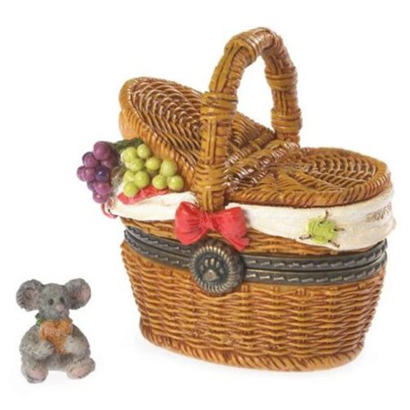 Boyds Bears Emily's Picnic Basket with Dagwood Mcnibble Treasure Box 2013 Introduction, Product Material: POLYRESIN By BOYDS BEARS RESIN