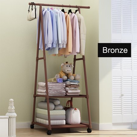 Clothes Rack On Wheels Stainless Steel Rolling Garment