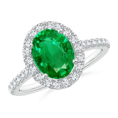 May Birthstone Ring - Oval Emerald Halo Ring with Diamond Accents in Platinum (9x7mm Emerald) - SR0955E-PT-AAA-9x7-9