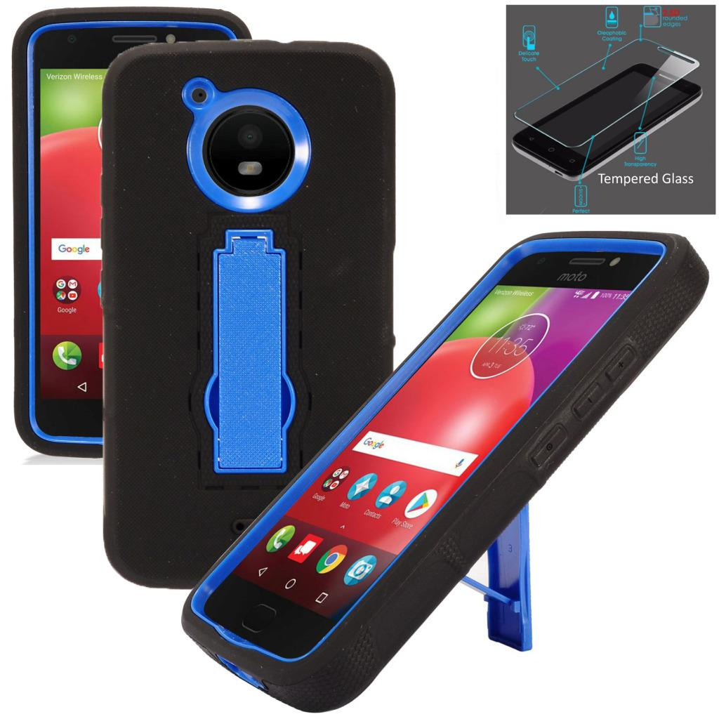 For Motorola Moto E4 Case / Moto E 4 XT1767 Case + Tempered Glass Symbiosis Armor Hybrid Silicone Phone Cover w/ Stand Combo Pack (Blue/Black)