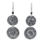 Zakali Creations Stamped Recycled Cooking Pot Double Disk Earrings