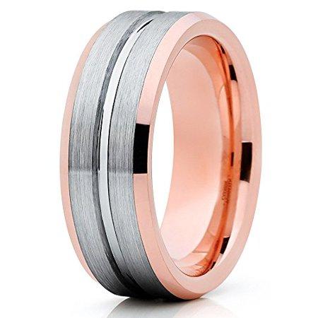 8mm Silver Tungsten Ring 18K Rose Gold Tungsten Wedding Band Men Women Gray Tungsten Carbide Ring Groove Comfort Fit 18k Rose Gold Wedding Band