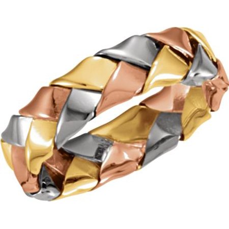 14kt Tri-Color 5.5mm Hand Woven Band Size 9 50122 / 14Kt Yellow/White/Rose / Size 9 / Polished / Tri Color Hand Woven Band