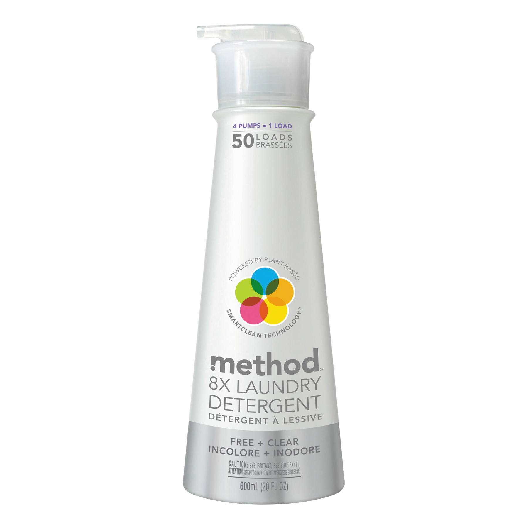 Method 8X Laundry Detergent, Free & Clear, 20 oz Bottle, 6/Carton