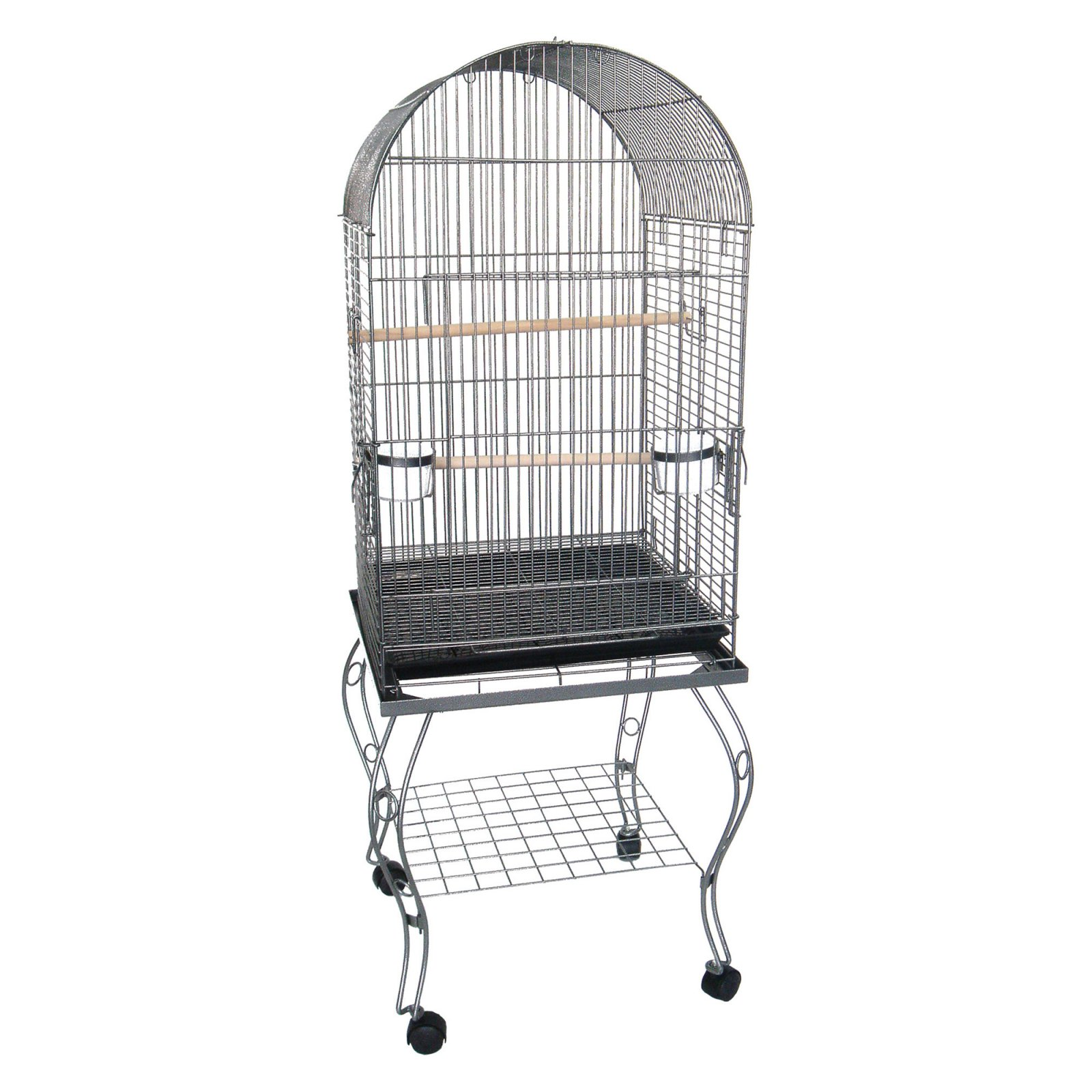 YML 0204AS 24-Inch Dometop Parrot Cage with Stand, Antique Silver