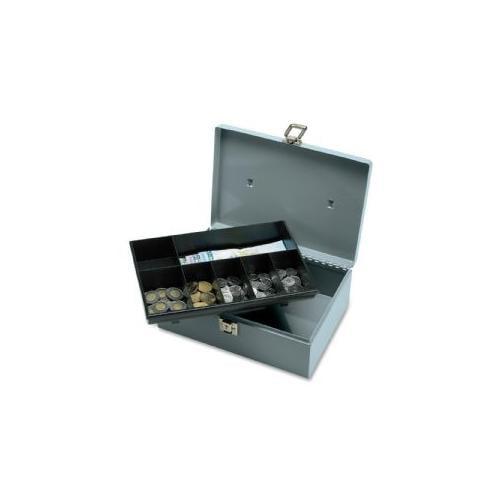 SPARCO PRODUCTS Cash Box,w/ Latch Lock,2 Keys,7 Cmpmnts,11x7-3/4x4,Gray