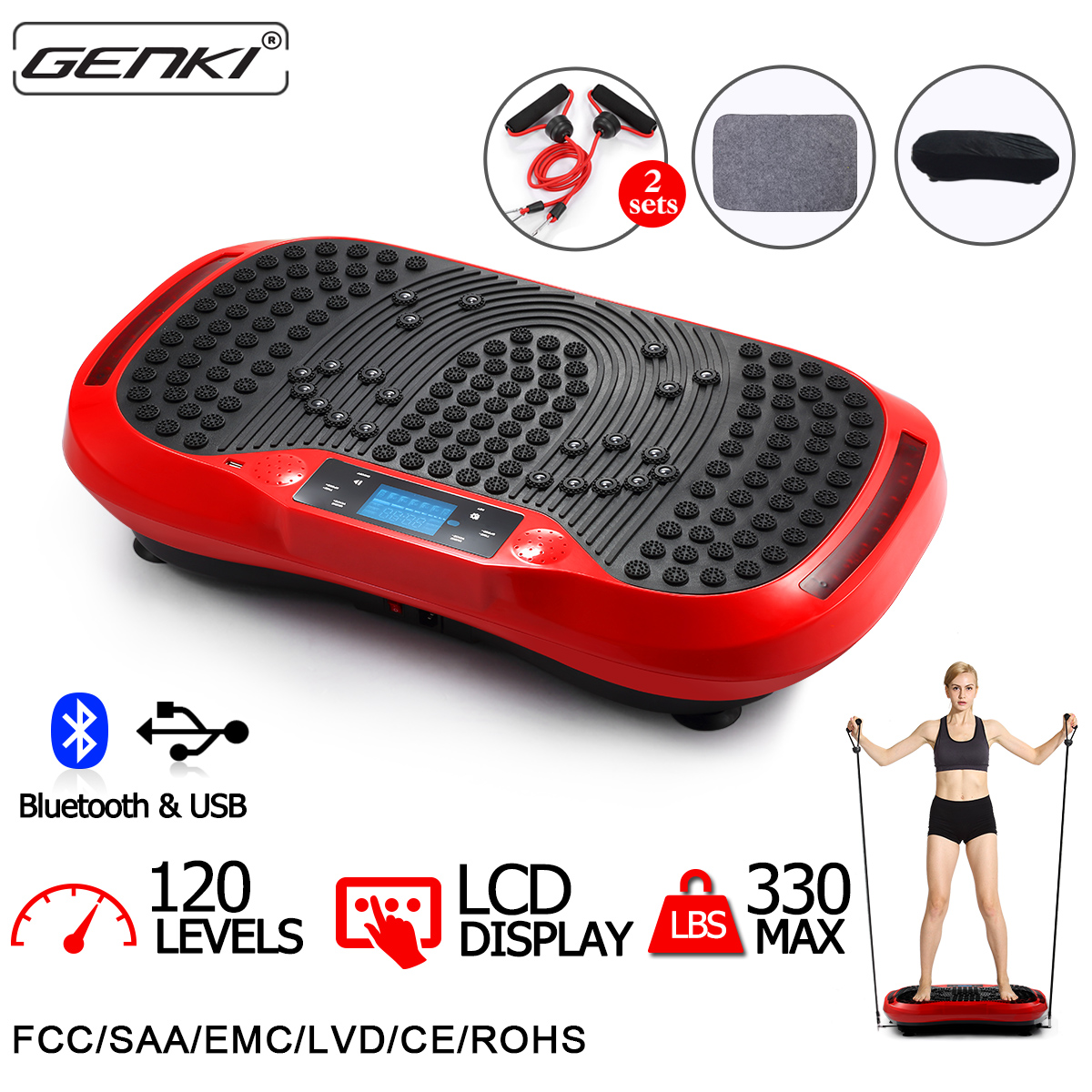 GENKI Vibration Platform Fitness Machine Bluetooth MP3 Player Whole Body Exercise with Straps and Romote Control, 120 Levels, 5 Auto Programmes