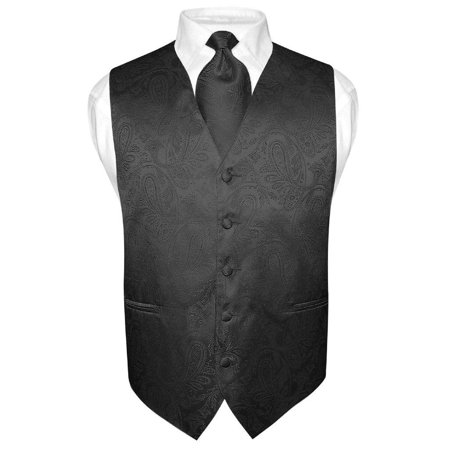 Men's Paisley Design Dress Vest & NeckTie BLACK Color Neck Tie Set for Suit Tux ()