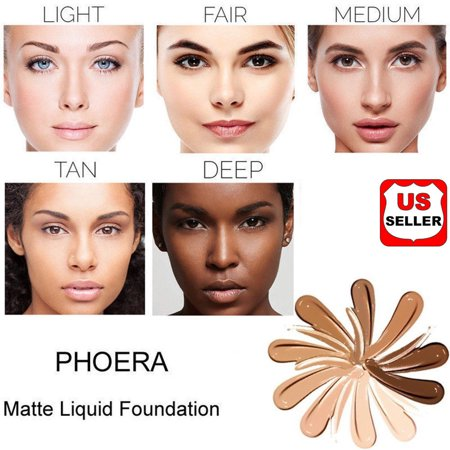 PHOERA Foundation Professional Makeup Full Coverage Fast Base Brighten long-lasting (Best Full Coverage Non Comedogenic Foundation)