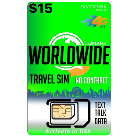 International Travel SIM Card - Talk Text and Data Worldwide on over 210 Countries - $15