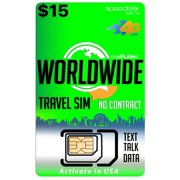 International Travel SIM Card - Talk Text and Data Worldwide on over 210 Countries - $15 Value