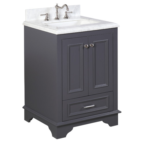 "KBC Kitchen Bath Collection KBC1224GYCARR Nantucket Bathroom Vanity with Marble Countertop, Cabinet with Soft Close Function & Undermount Ceramic Sink, 24"", Carrara/Charcoal Gray"