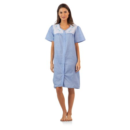 Snap Wrap Gown (Casual Nights Women's Short Sleeve Snap-Front Lounger Duster House)