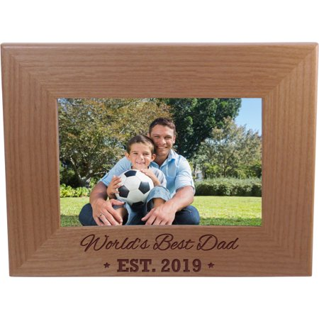 World's Best Dad EST. 2019 4-inch x 6-Inch Wood Picture