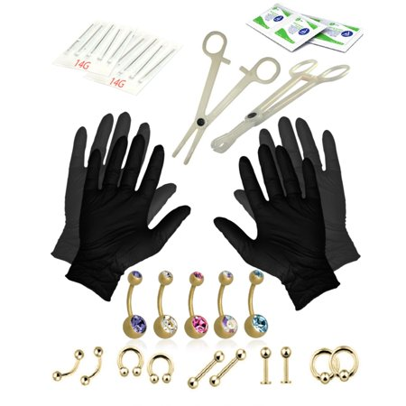 Bodyj4you Body Piercing Kit Belly Button Ring Set Goldtone Tongue Tragus Eyebrow Nipple 35 Pieces