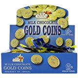 Elite Milk Chocolate Gold Coins Box of 24 Mesh Bags(0.53 oz each) (Chocolate Coins Bulk)